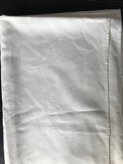 Rectangular Off-White Table Cloth with Roses