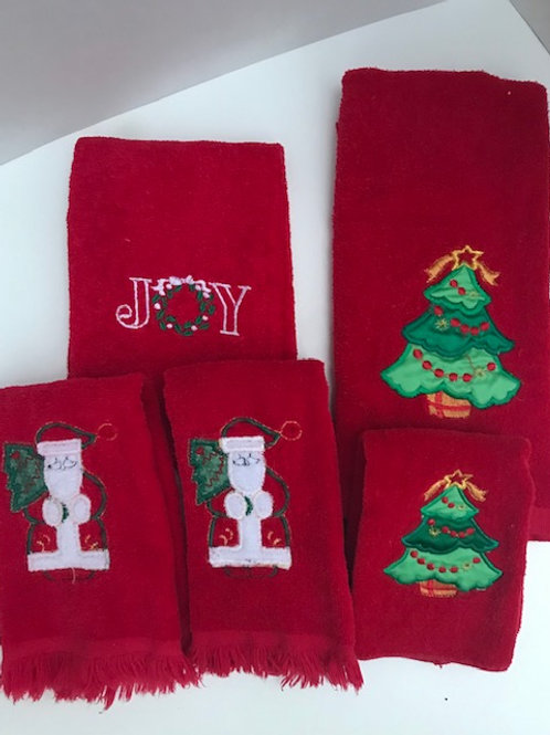 Red Christmas Wash Clothes & Hand Towels