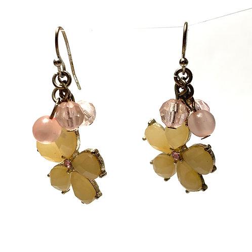 Flower Petal and Pink Stone Dangle Earrings