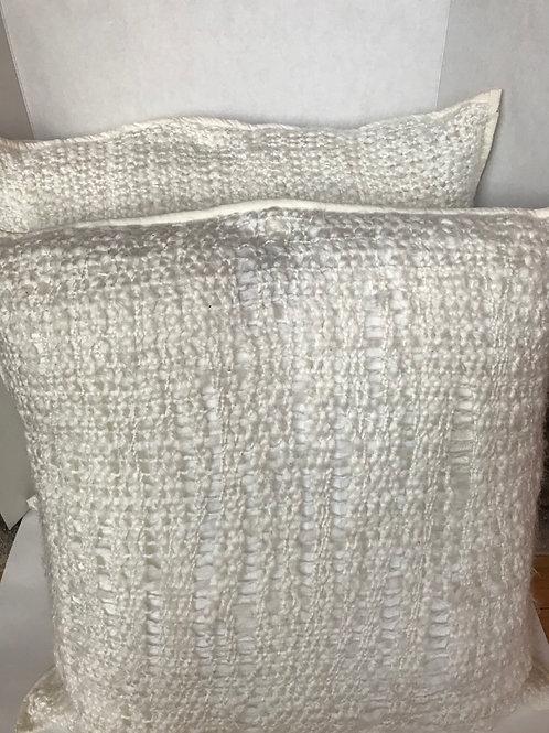 White Woven Euro Size Pillows