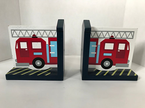Fire Truck Wooden Bookends