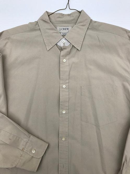J Crew Khaki Cotton Button down (L)