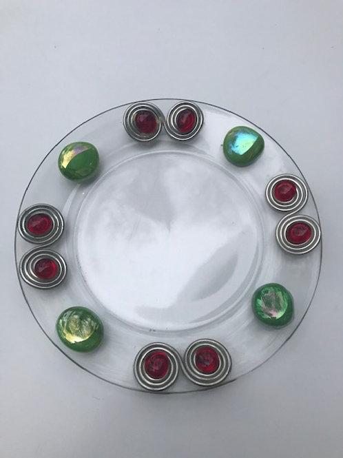 Jeweled Glass Christmas Plate