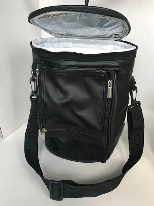 Black Leather Insulated Cooler Bag