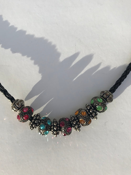 Multi Color Beaded Necklace on Black Cable