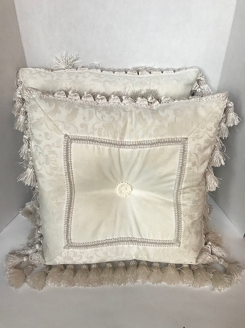 Off White Decorative Throws with Tassels (2)
