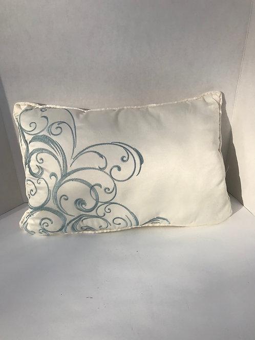 White & Blue Swirl Pillow