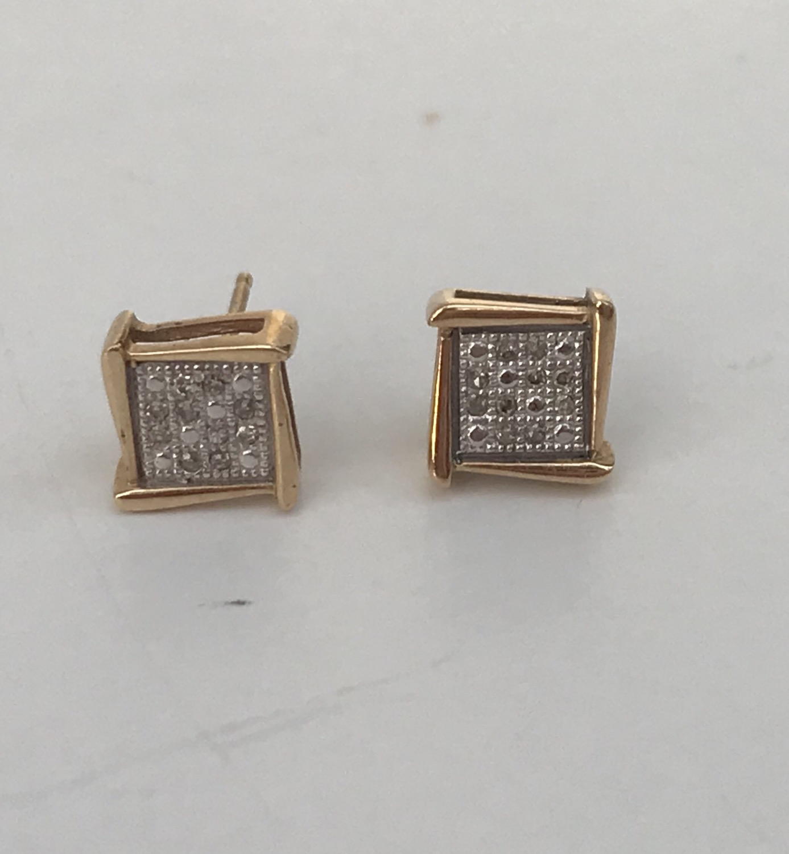 Gold & Silver Square Studs