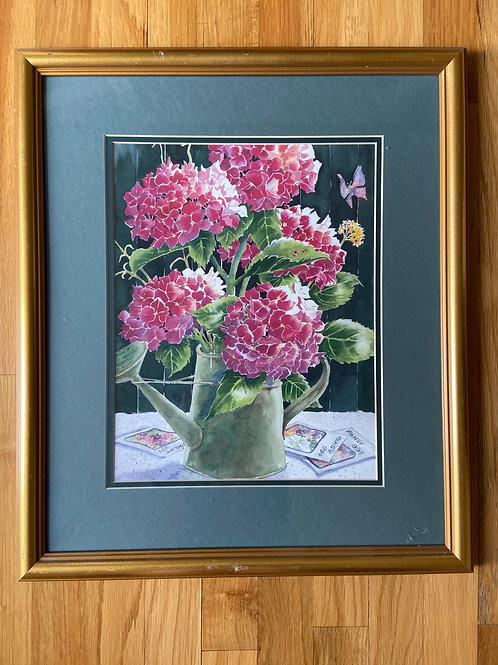Hot Pink Hydrangeas in a Watering Can Print