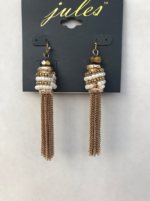 Gold& White Beaded Chain Earrings