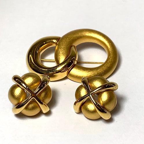 Brushed Gold Earrings & Pin