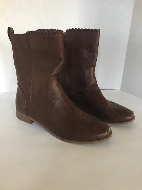 Mari A. Brown Leather Scalloped Edge Boot