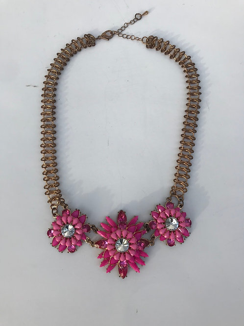 Pink & Gold Flower Necklace
