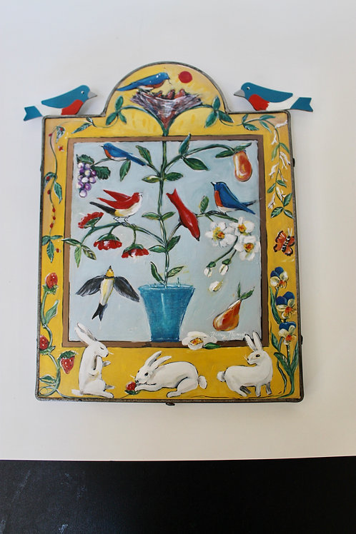 Hand painted Springtime Wooden Wall Hanging