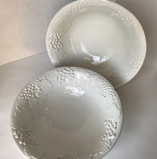 White Ceramic Italian Grapevine Bowls