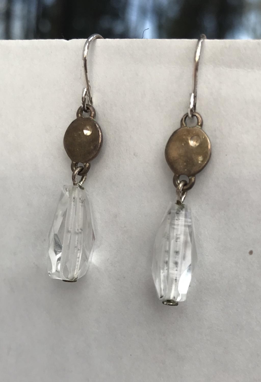 Clear Teardrop Dangle Earrings