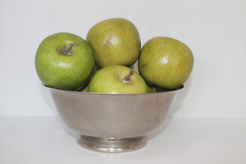 Round Silver Decorative Bowl (Artificial Apples not included)