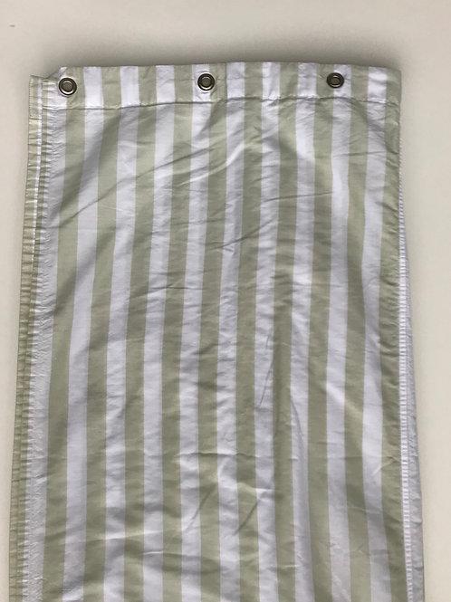 Green & White Striped Cloth shower Curtain