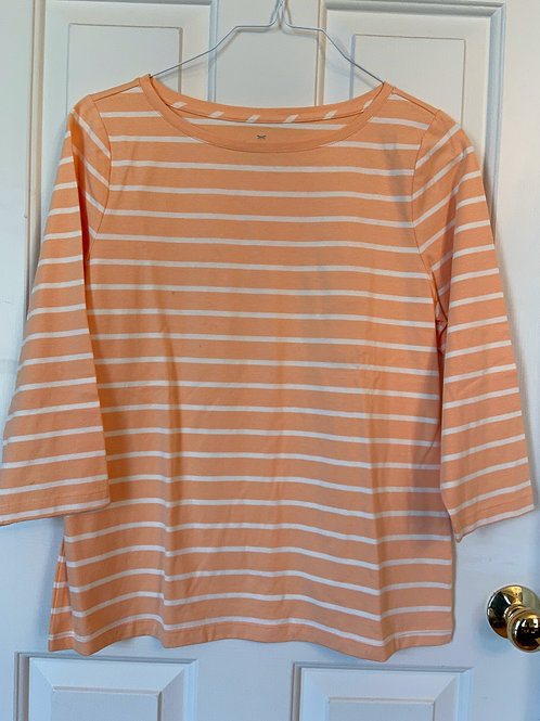 Talbot's Peach and White Striped Tee with 3/4 Sleeves
