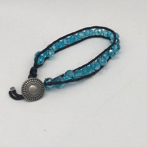 Clear Blue Beaded Bracelet