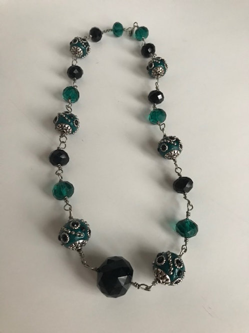 Green & Black Beaded Ball Necklace