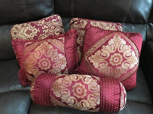 Burgandy & Gold Set Throw Pillows