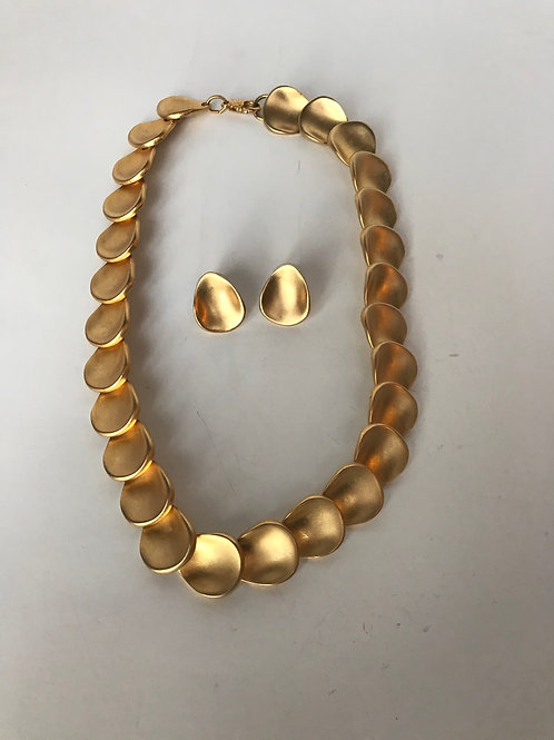 Brushed Gold Necklace & Earrings