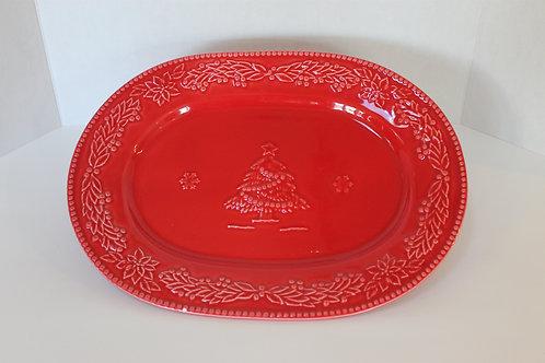 Red Ceramic Holiday Platter