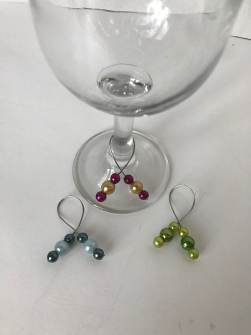 Beaded Wine Glass Charms (3)