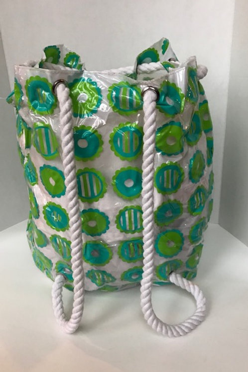 Large Flowered Beach Bag with Thick Rope Drawstring