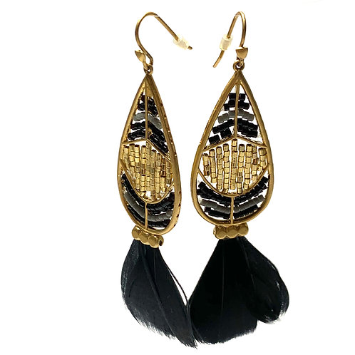 Gold and Black Tassel Earrings