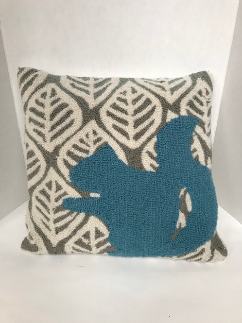 Blue & Gray Squirrel Pillow