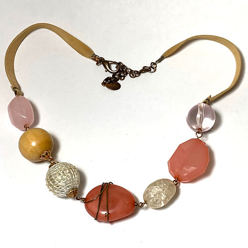 Pink Stone Necklace with Ribbon
