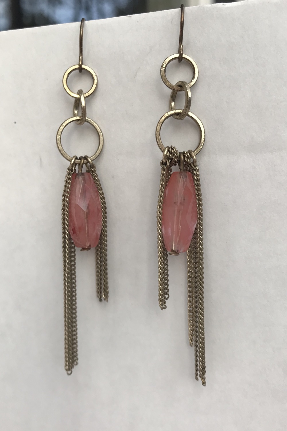 Pink Stone & Chains Dangles