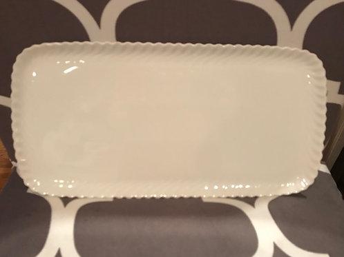 White Rectangular Plate with Beveled Edges