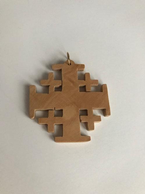 Wooden Cross Charm