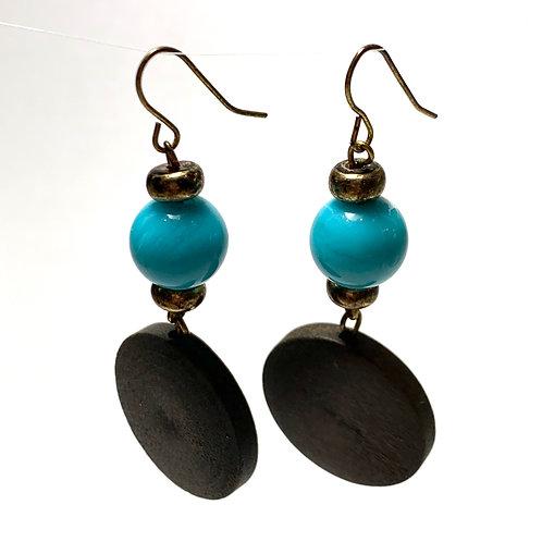 Teal Stone and Wood Dangle Earrings