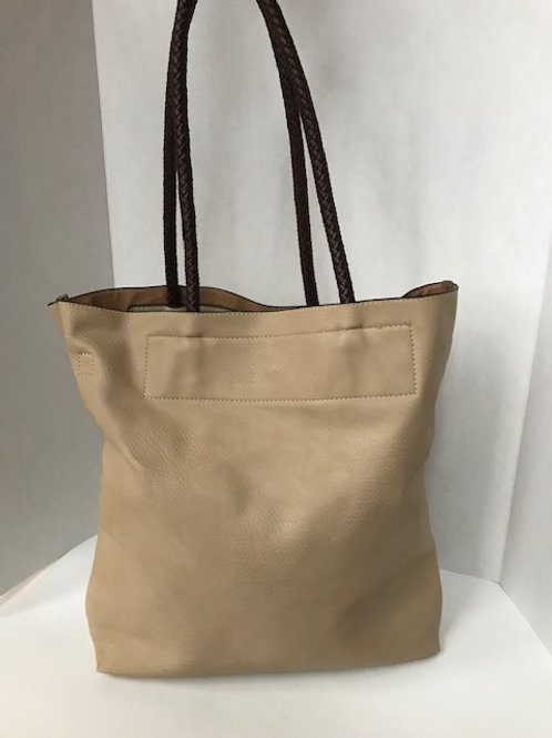 Beige Leather Sac Purse with Braided Straps