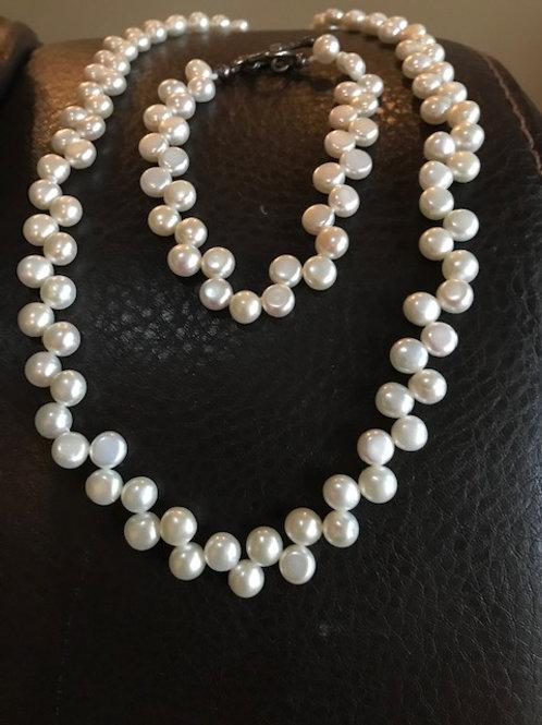 Flat Water Pearl Bracelet & Necklace Set