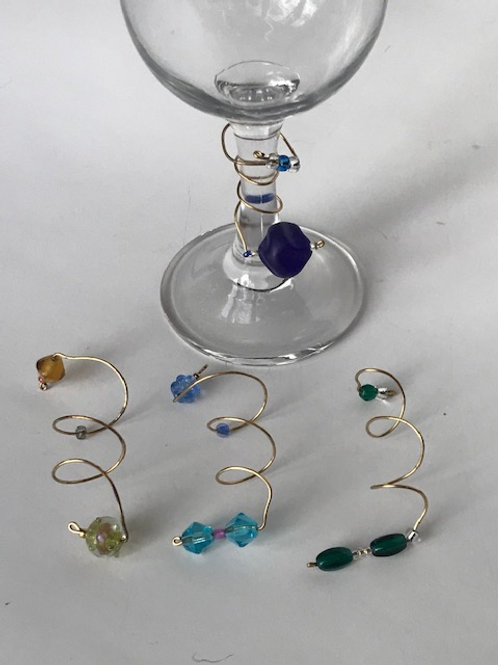 Wire & Bead Wine Glass Charms