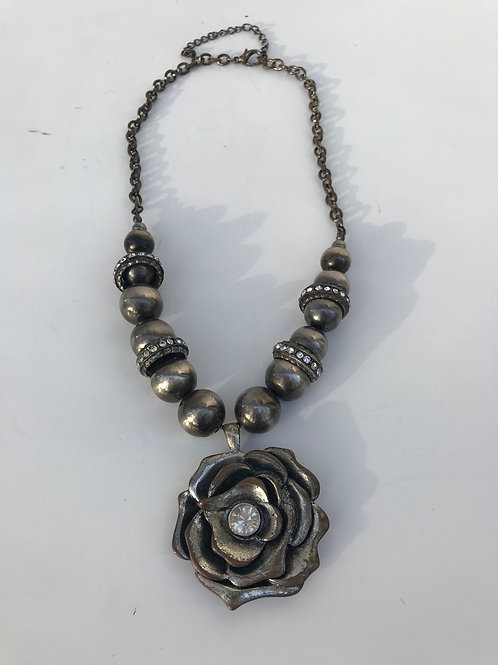 Pewter Rose Necklace