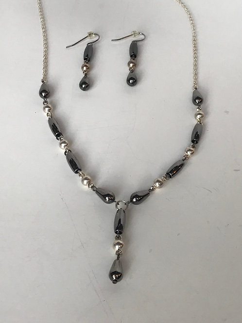 Silver & Oynx Necklace & Earrings