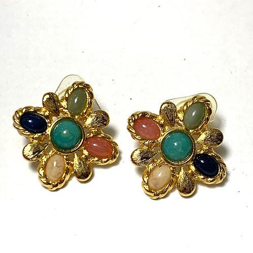 Multi-Colored Stone Earrings
