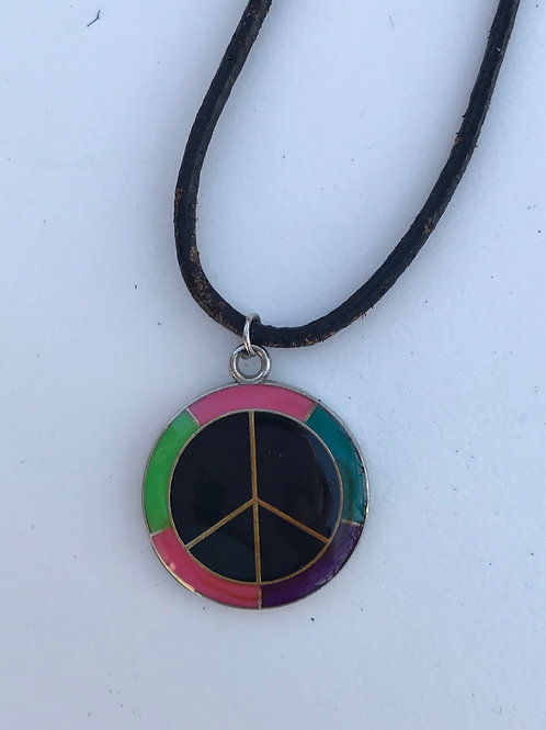 Peace Charm on Black Leather Necklace