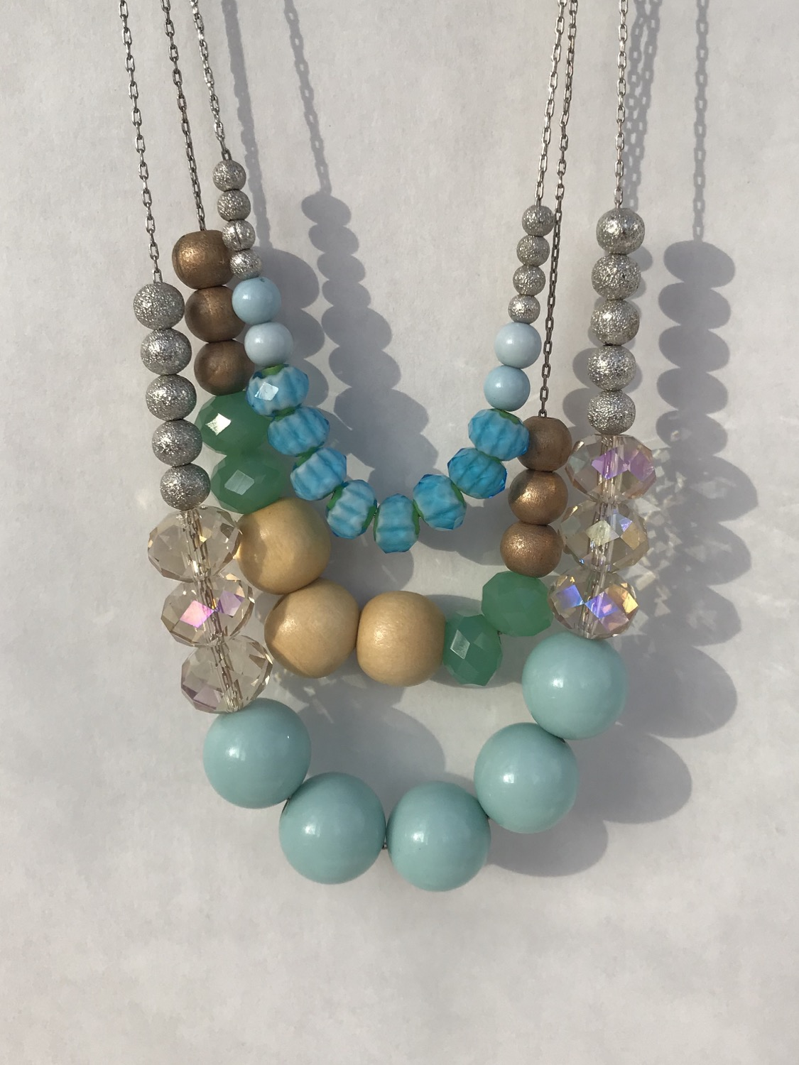 Triple Turquoise Beaded Necklace