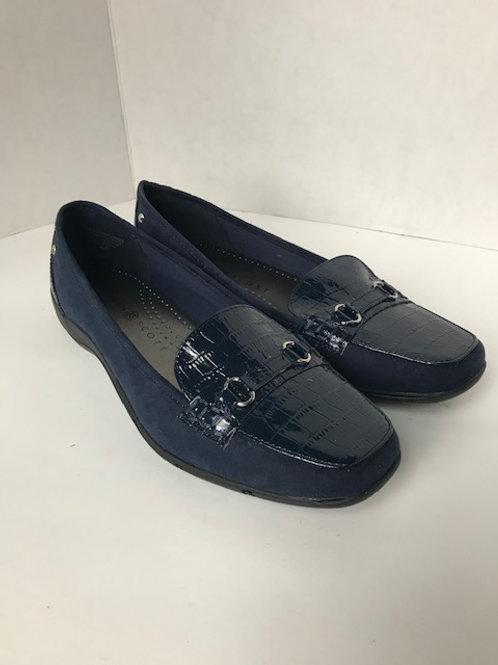 Karen Scott Navy Blue Leather & Suede Loafer