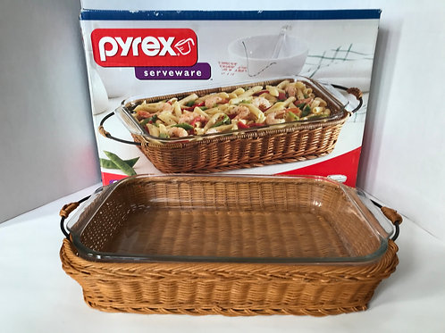 Pyrex Glass Casserole Dish with Carrying Basket