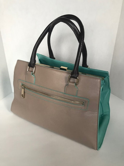 Beige & Turquoise Leather Purse