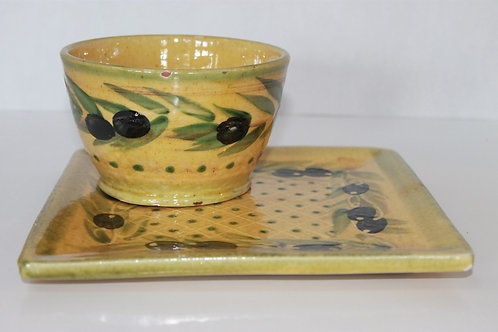 Decorative Olive Plate and Bowl