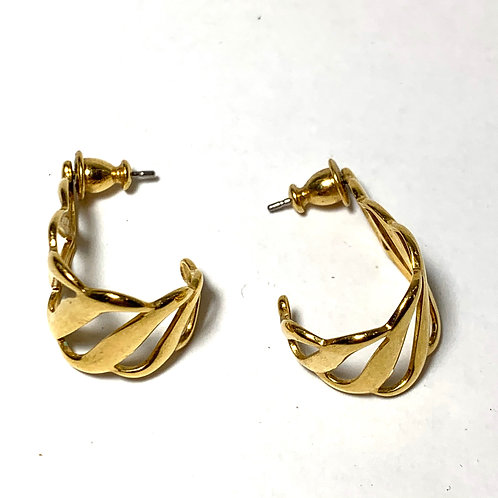 Gold Ribbon Hoop Earrings